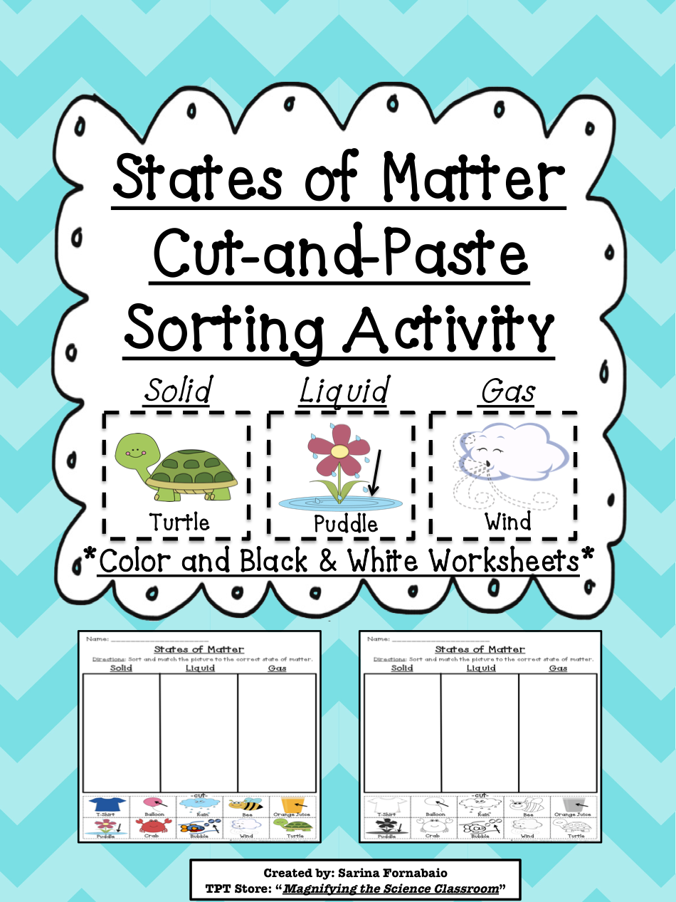 worksheet Three States Of Matter Worksheet states of matter cut and paste sorting activity motor skills activity