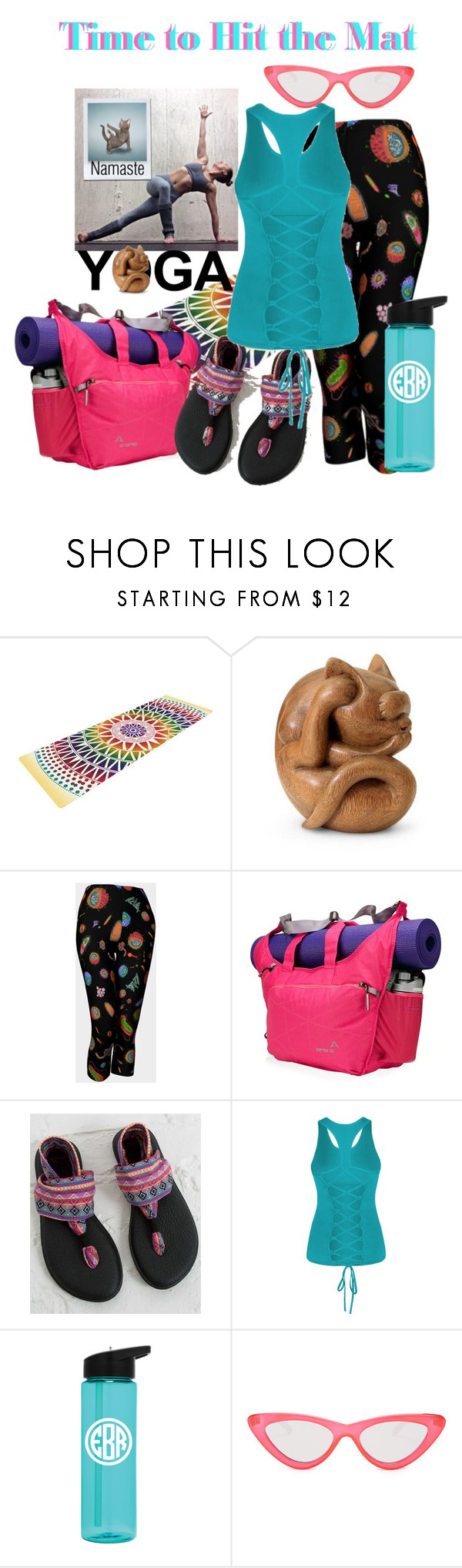 """time to hit the mat"" by daincyng ❤ liked on Polyvore featuring NOVICA, Apera, sanuk, Le Specs and yoga"