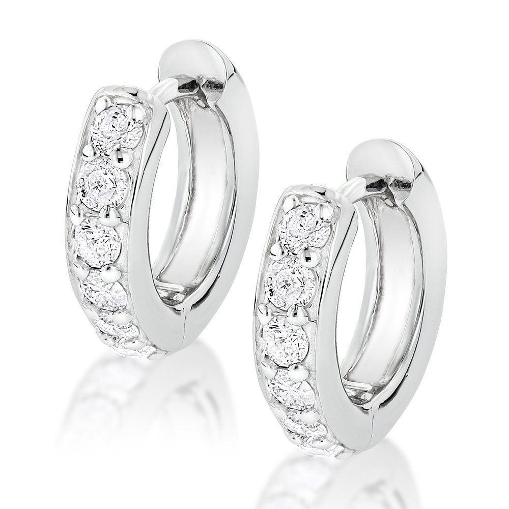 14k Gold Small Diamond Hoop Earrings Huggies 1 2ct Mens Jewelry