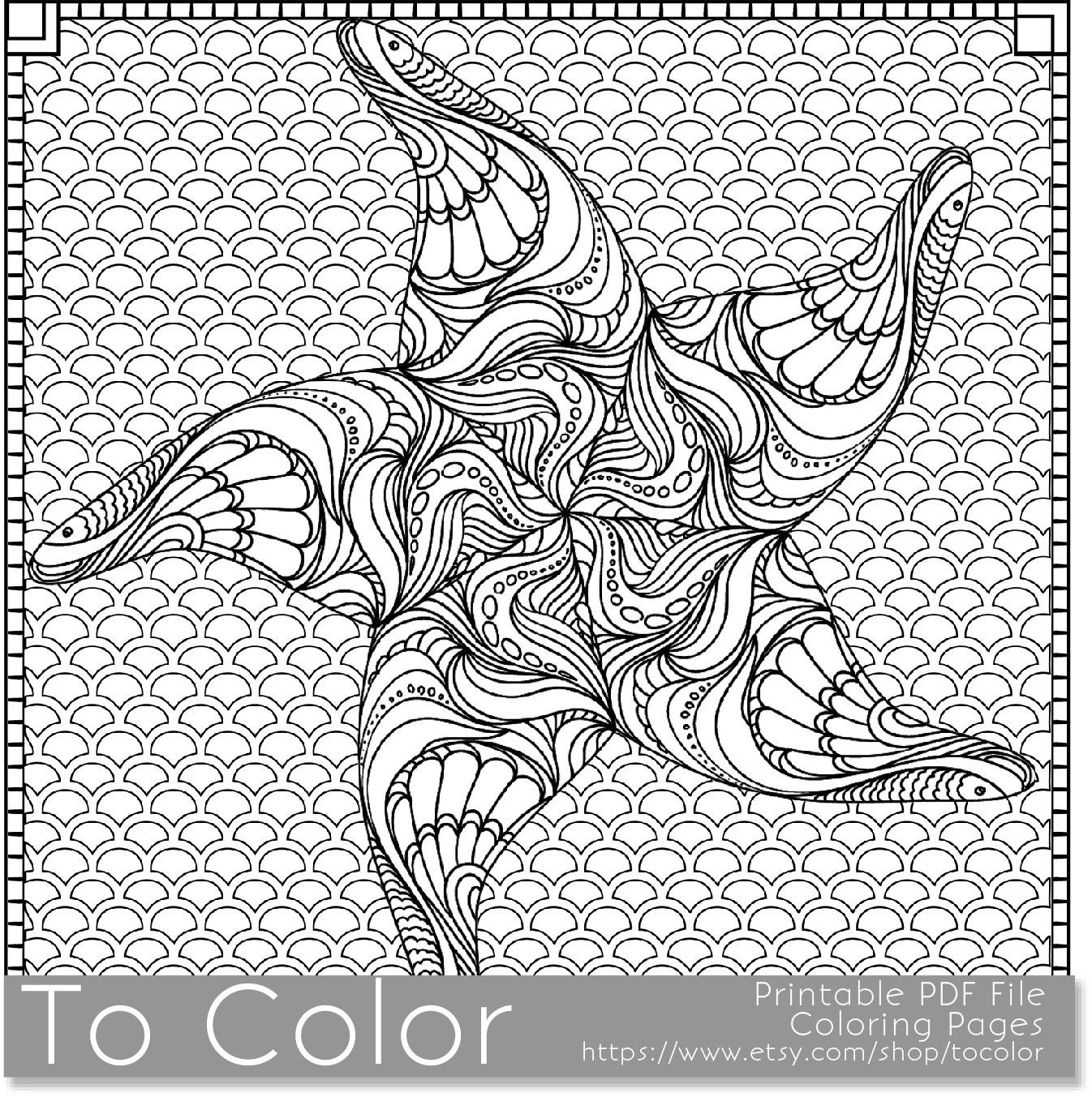 Printable Starfish Coloring Page For Adults PDF JPG Instant Download Beach Coloring Book