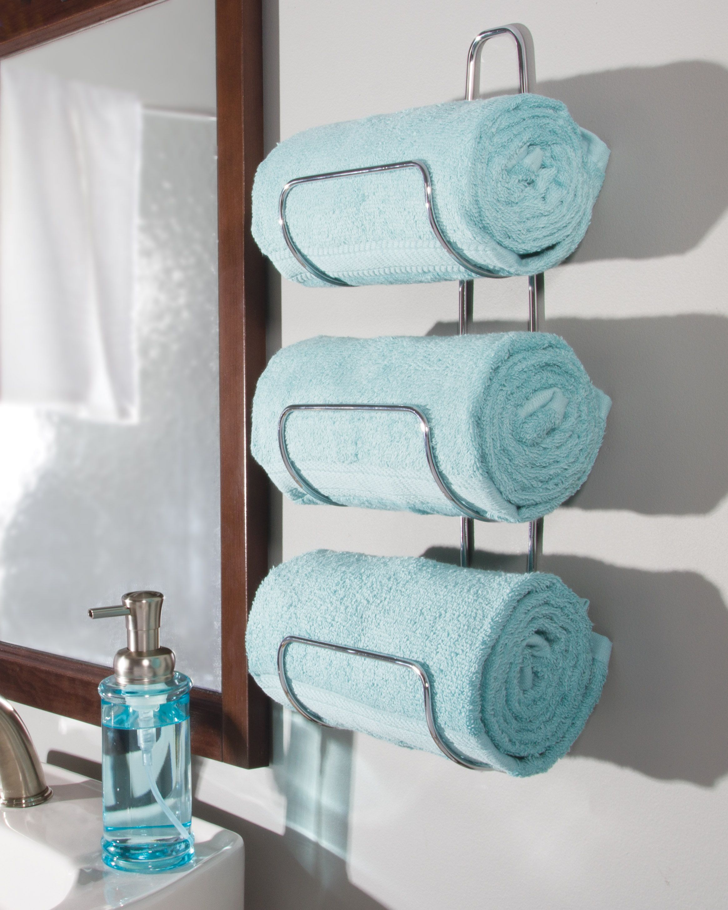 Towel Storage Ideas 19 Neat Ways To Tidy Your Smallest Room Real Homes Towel Holder Bathroom Towel Storage Bathroom Towel Storage