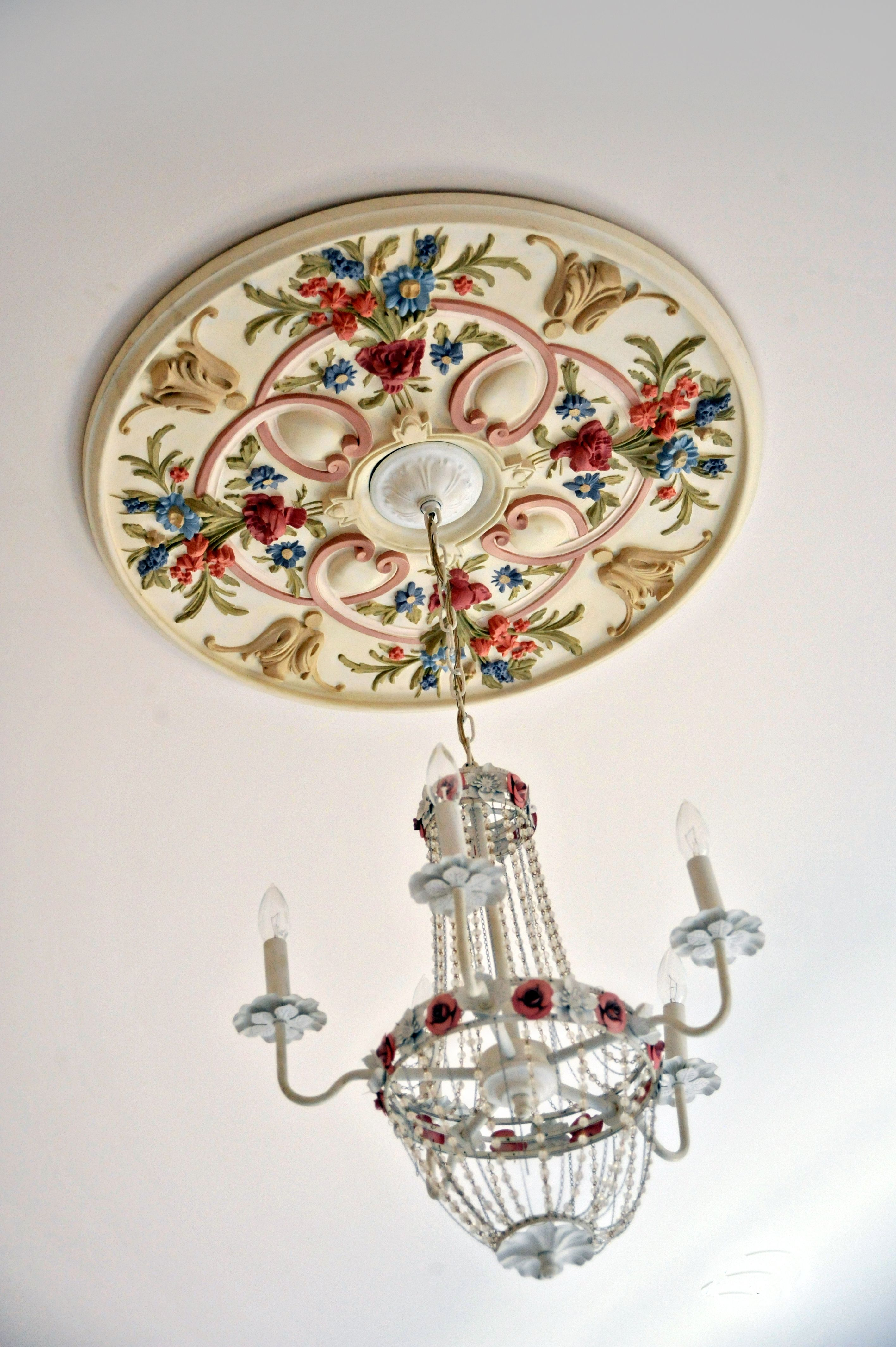 Handpainted Beautiful Detail Painted Ceiling Ceiling Medallions Painted Chandelier