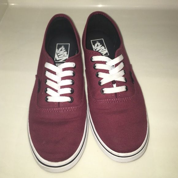 e199d20a89 Maroon lace-up vans Maroon lace-up vans with white laces. Men s 7.5   woman s 9. Been put on a few times