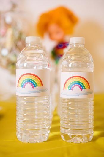 rainbow water bottle labesl cadence rainbow birthday pinterest