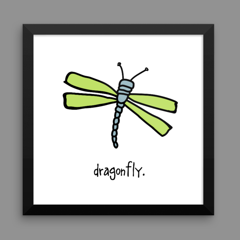 dragonfly. 12x12 framed poster.