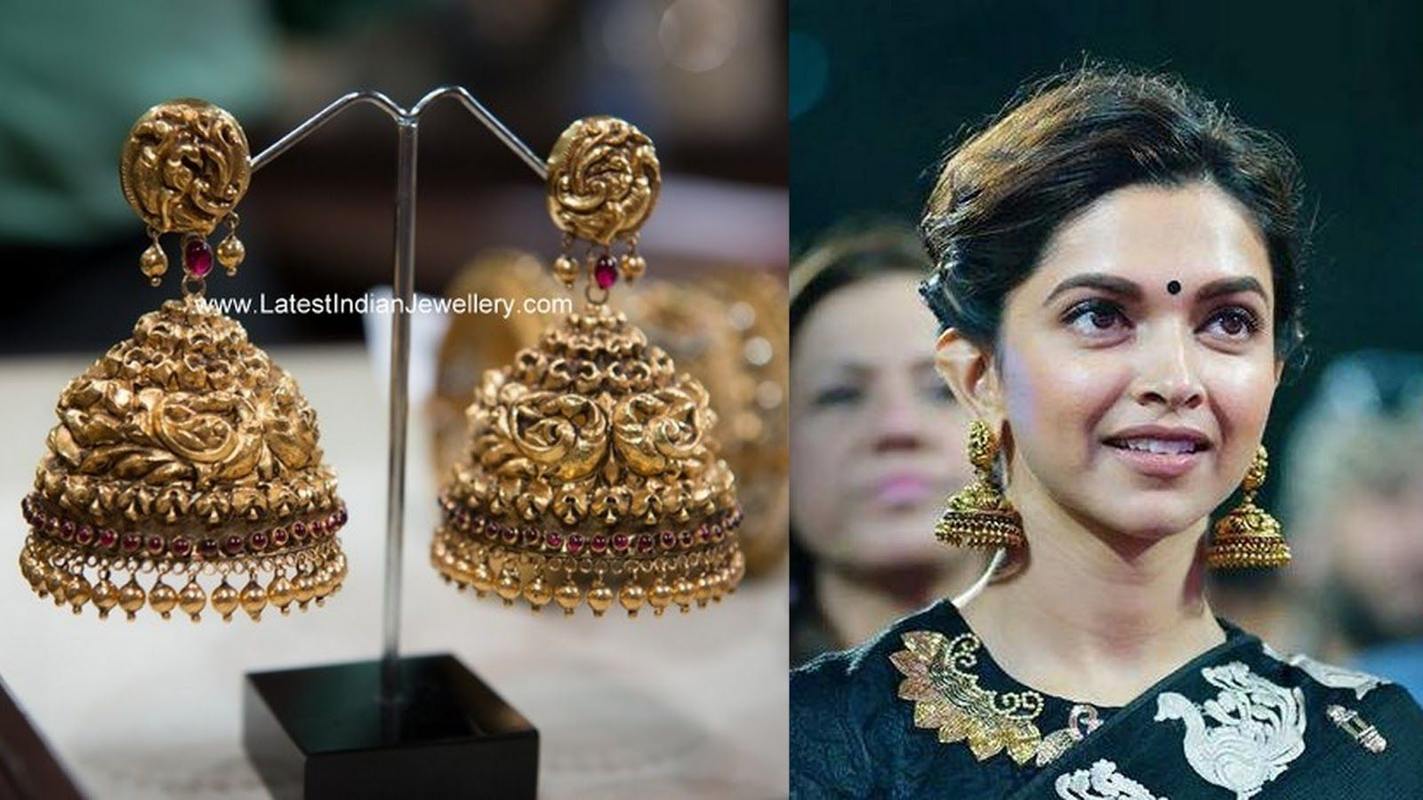 35fdc1fd55eb2 Deepika Padukone Gold Jhumkas | Jewels I | Gold jhumka earrings ...