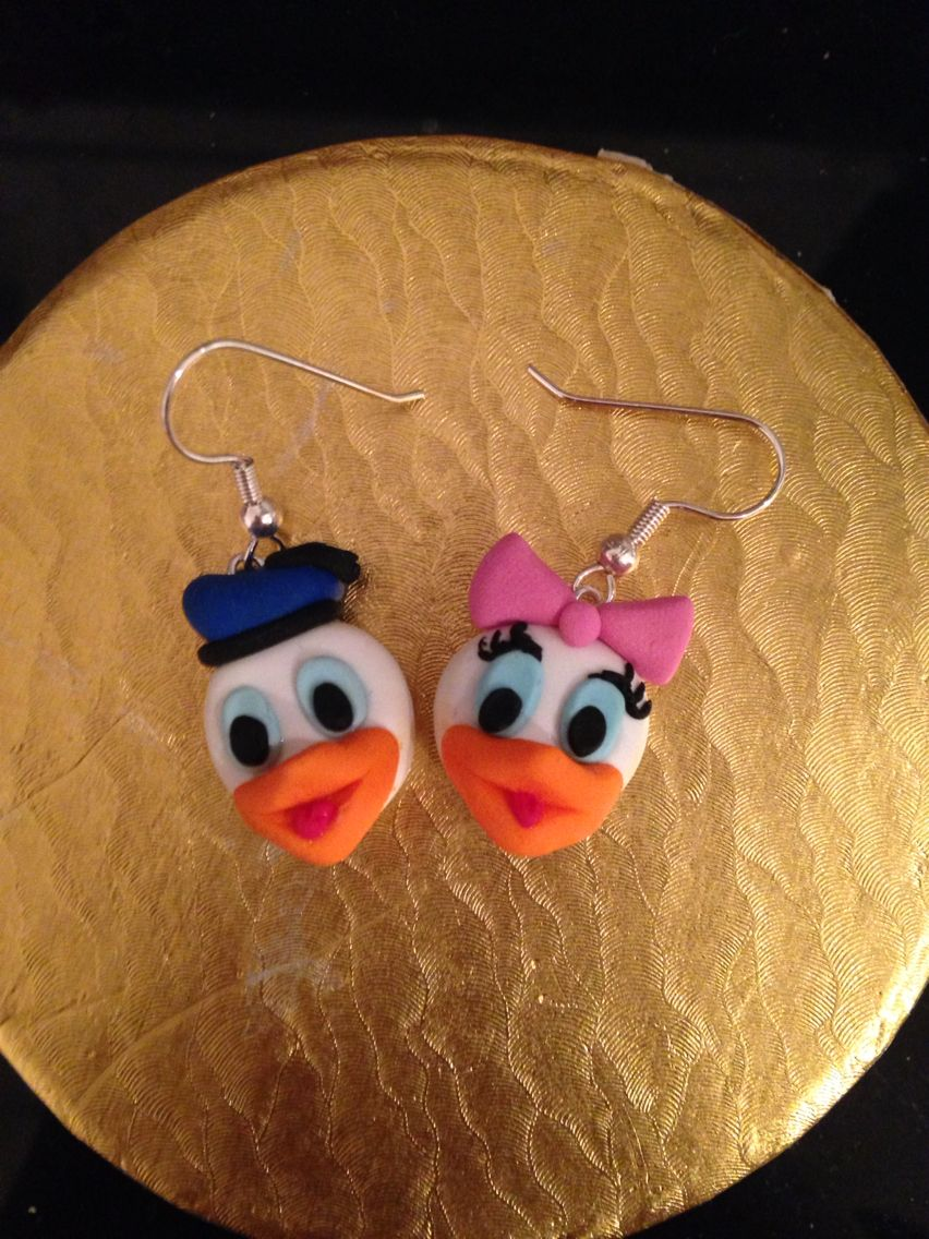 Donald And Daisy Duck Earrings Fimo Polymer Clay