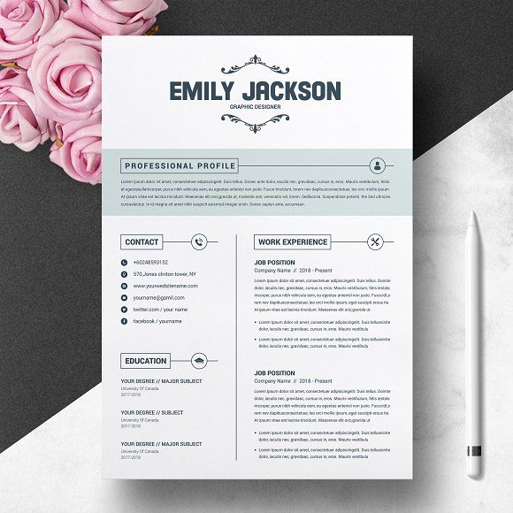 CV Template With Cover Letter @creativework247 Resume Templates