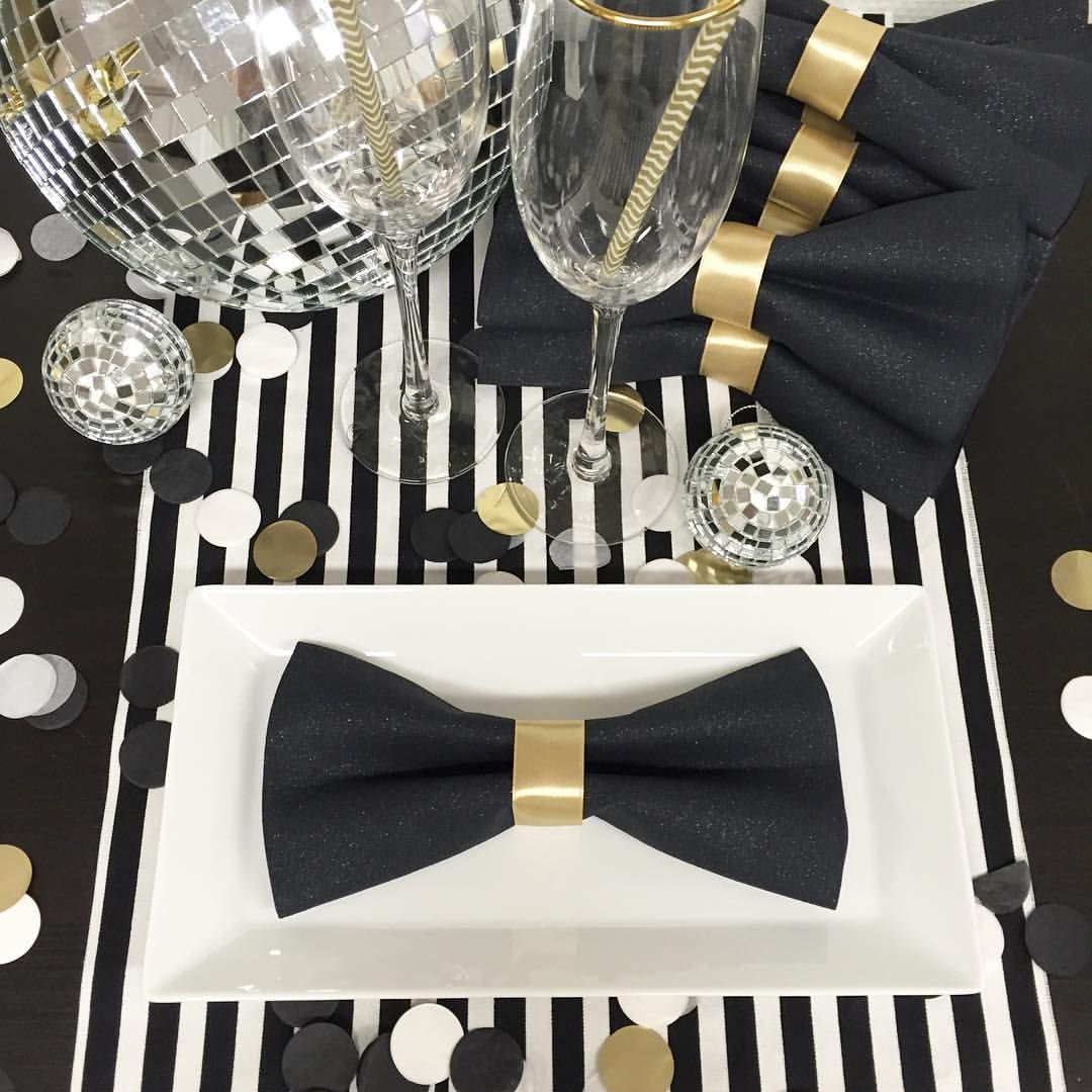 White Tie With Decorations Table Decor Almost Done For Tomorrow Diy Make Bow Tie Napkins