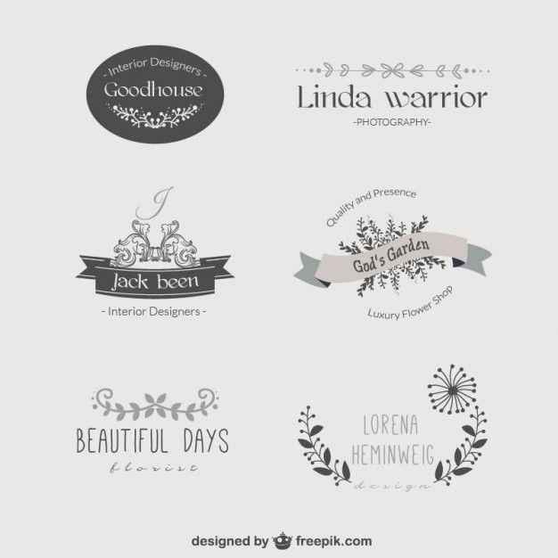 Logos Modelo Florais Do Vintage Vetor Grtis