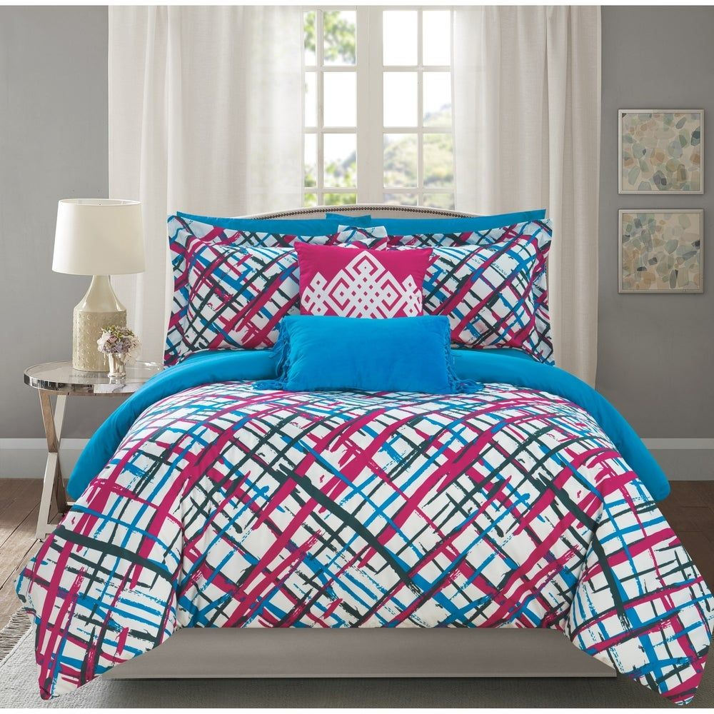 Chic Home 9 Piece Reversible Print Comforter Set (Twin), Pink