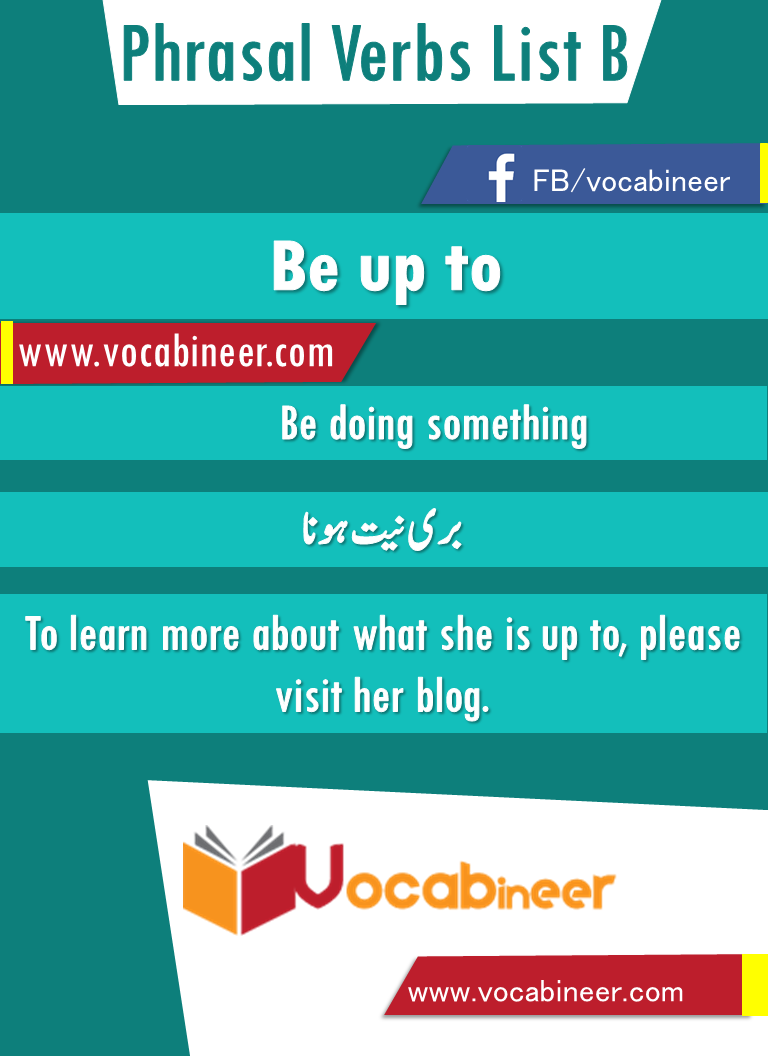 Be Up To Phrasal Verb With Hindi And Urdu Meanings And Sentence Download Pdf Verbs List Verb Sentences