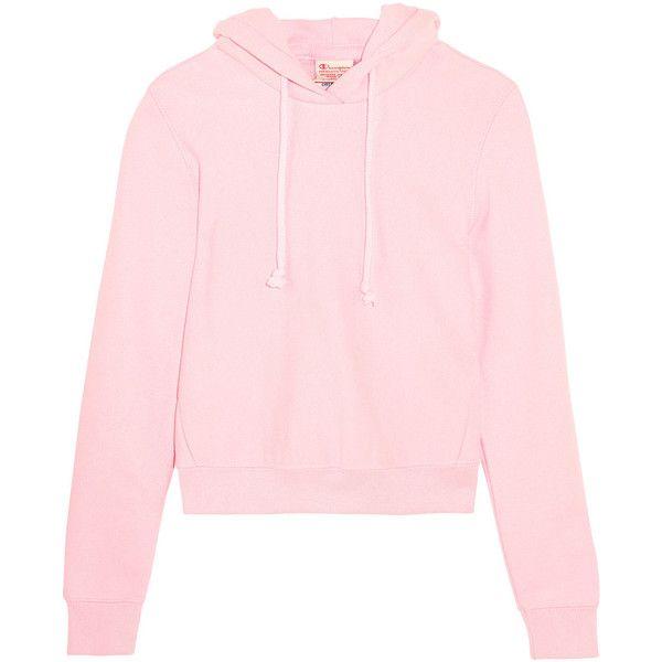 8817ebd54006 Vetements+ Champion Appliquéd Cotton-blend Jersey Hooded Top (£345) via  Polyvore featuring tops