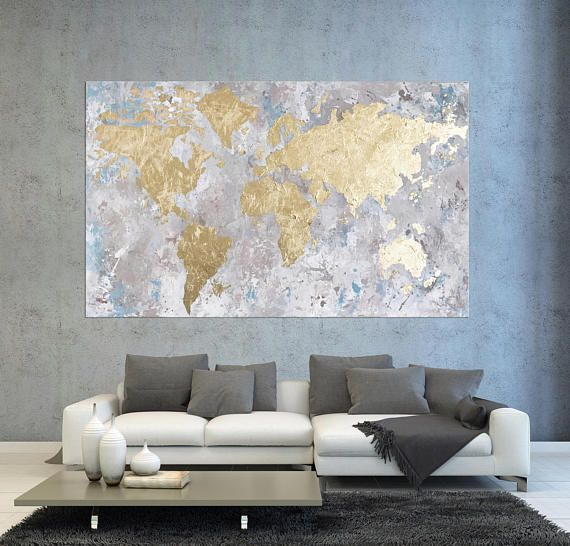 Gold leaf world map original abstract painting acrylic travel art original world map painting gold leaf abstract acrylic gumiabroncs Gallery