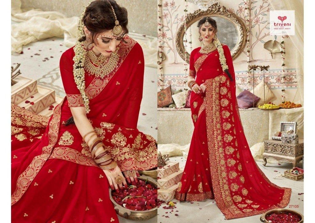 720b92f8117 Triveni Swarnapari Heavy Embroidered Georgette Red Sarees Collection at  Wholesale Rate  redsaree  saree  sareewedding