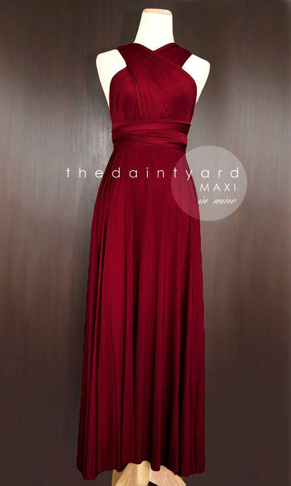 6483b7273ec9e TDY Wine Red Maxi Bridesmaid Dress Prom Wedding Dress Infinity Dress ...