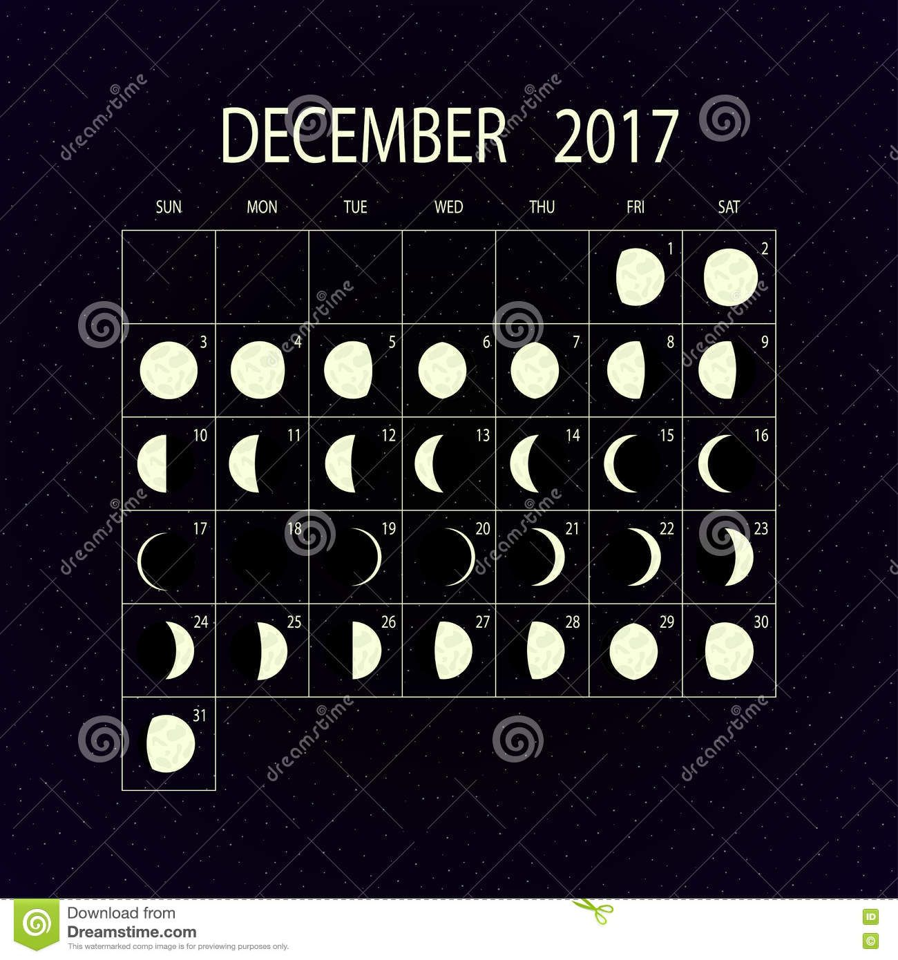 Moon Phases Calendar For December Vector Illustration