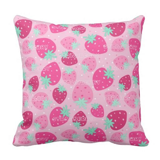 Colorful pink strawberry pattern throw pillow