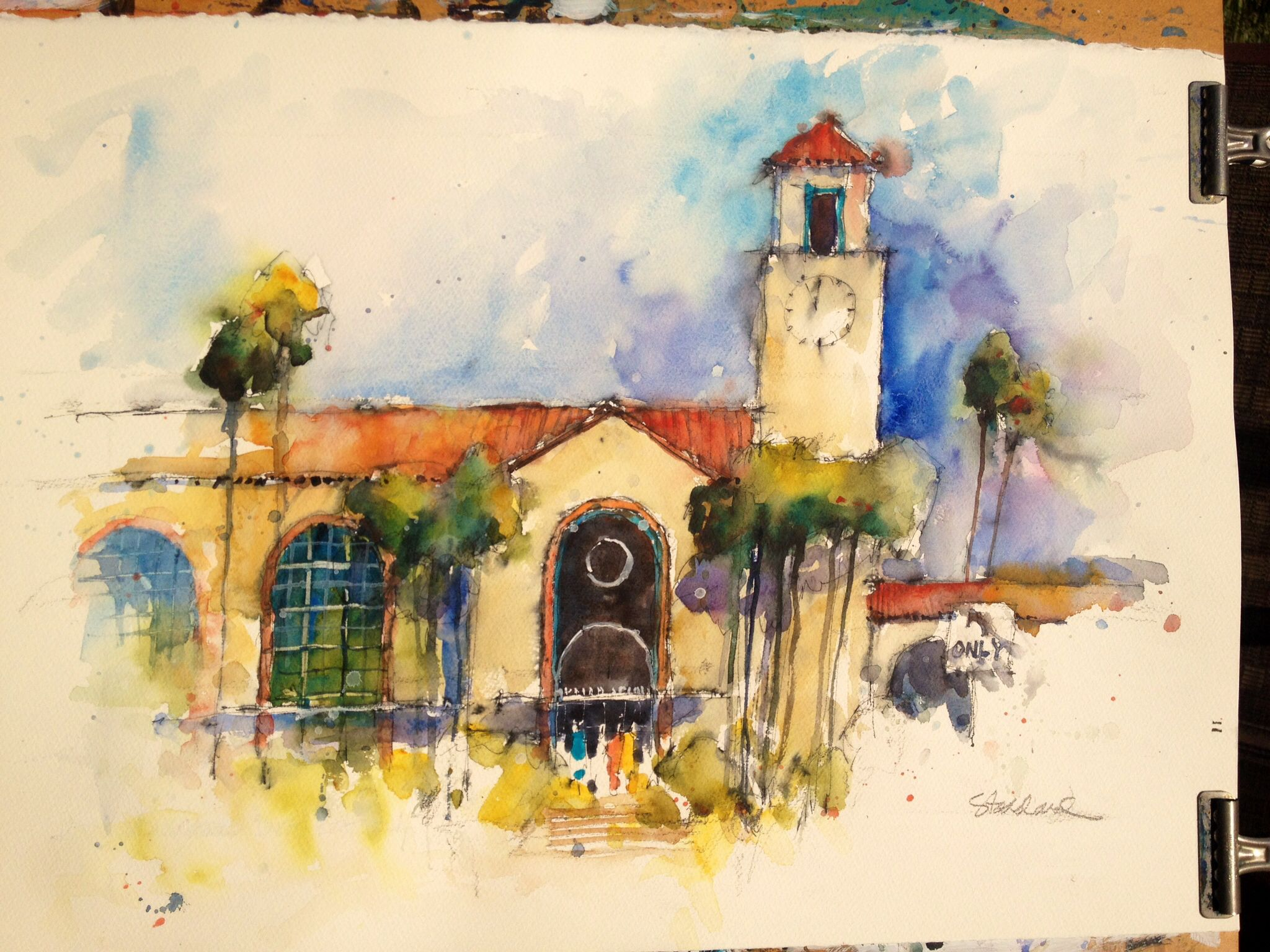 Los Angeles Union Station Watercolor Art Painting Watercolor