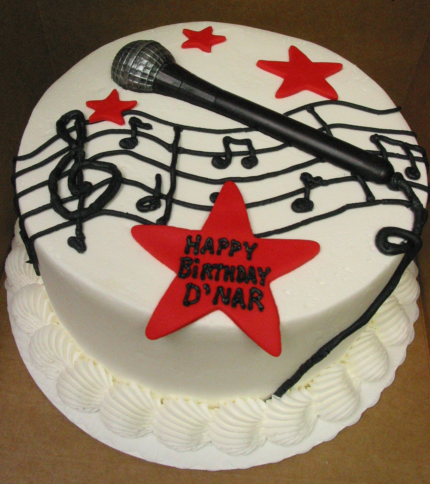 Music Dj Singer Microphone Groom Cake Or Birthday Cake Star