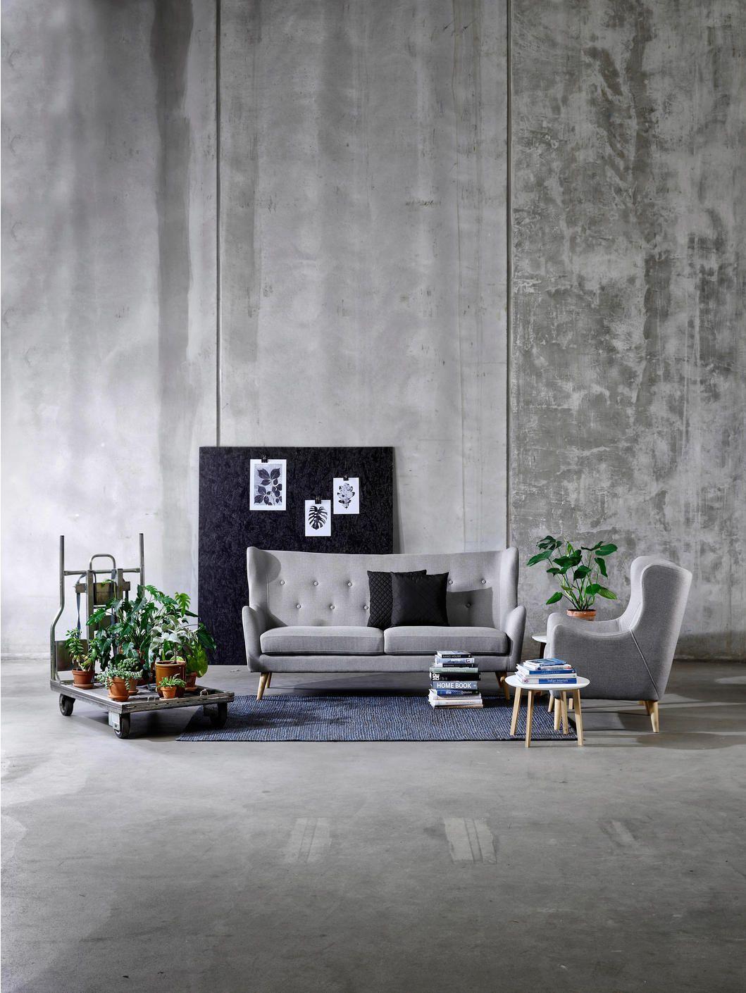 DREISITZER-SOFA in Textil Hellgrau  Wohnzimmer design