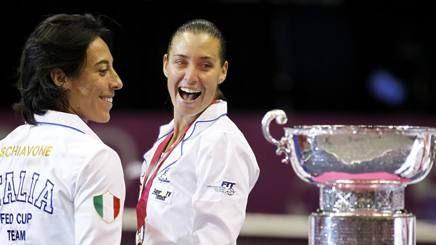 Francesca Schiavone, a sinistra e Flavia Pennetta con la Fed Cup vinta nel 2010 contro gli Stati Uniti REUTERS
