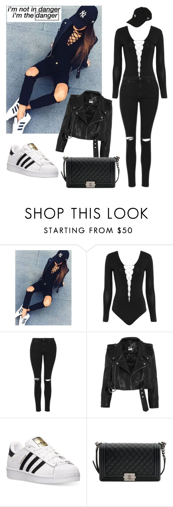 """""""I'm not in danger.I'm the danger."""" by maryanacoolstyles ❤ liked on Polyvore featuring Alexander Wang, Topshop, Vetements, adidas, Chanel and New Era"""