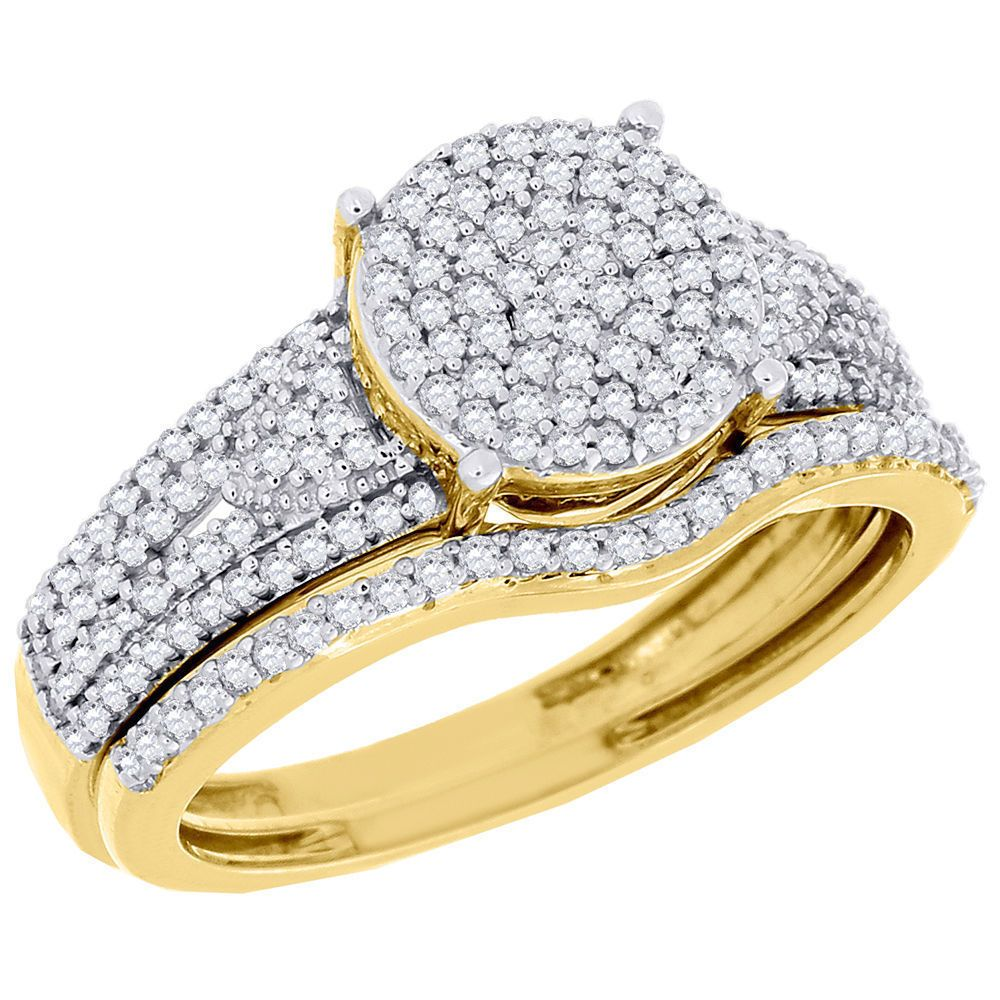 Diamond Wedding Ring 14K Yellow Gold Bridal Set 0.50 Ct