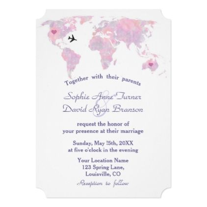 Modern Destination Wedding Watercolor World Map Invitation In 2018