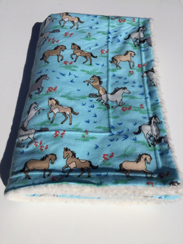 Horse blanket horse baby shower blue baby blanket