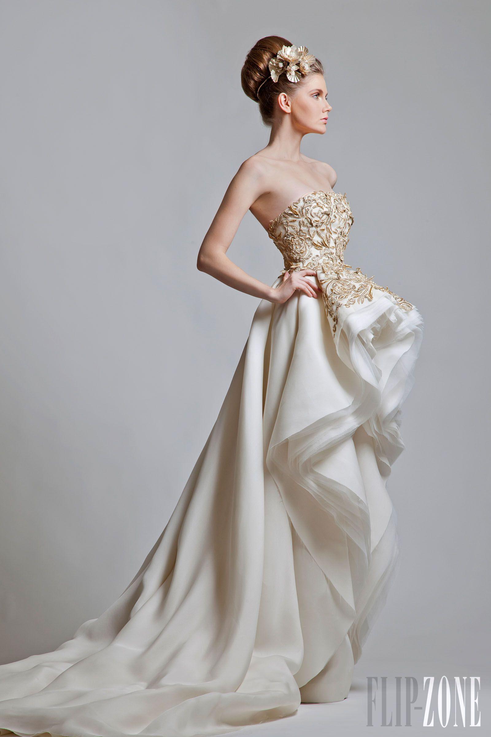 Gold white wedding dress  Krikor Jabotian SpringSummer  Haute Couture  Krikor Jabotian