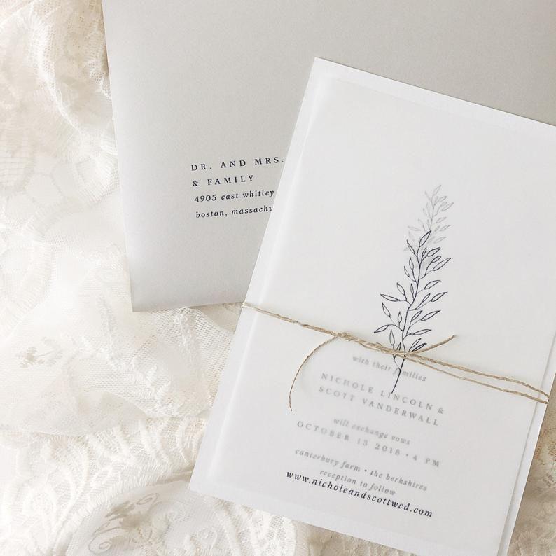 Handmade Paper Botanical Wedding Invitation | Minimalist Wedding Invitations | Save the Dates | Wedding Invites | Nichole - Sample