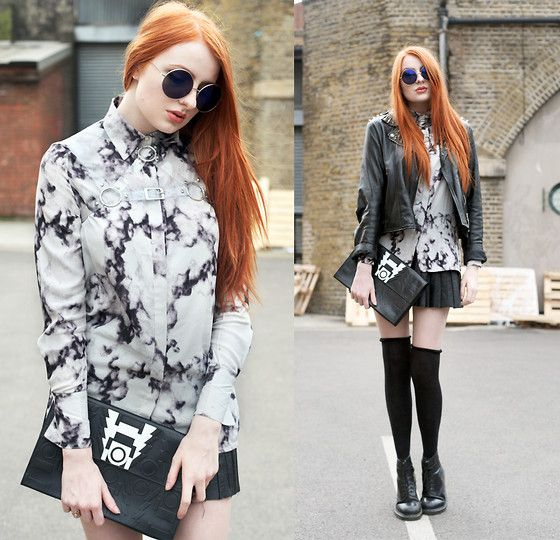 Olivia Emily - Topshop Sunglasses, Deandri Clear Harness, Ivory Jar Spike Jacket, Romwe Marble Print Shirt, Radley Holly Fulton For Clutch, Olive Clothing Pleated Skirt (Old), Dr. Martens Boots - Marble.