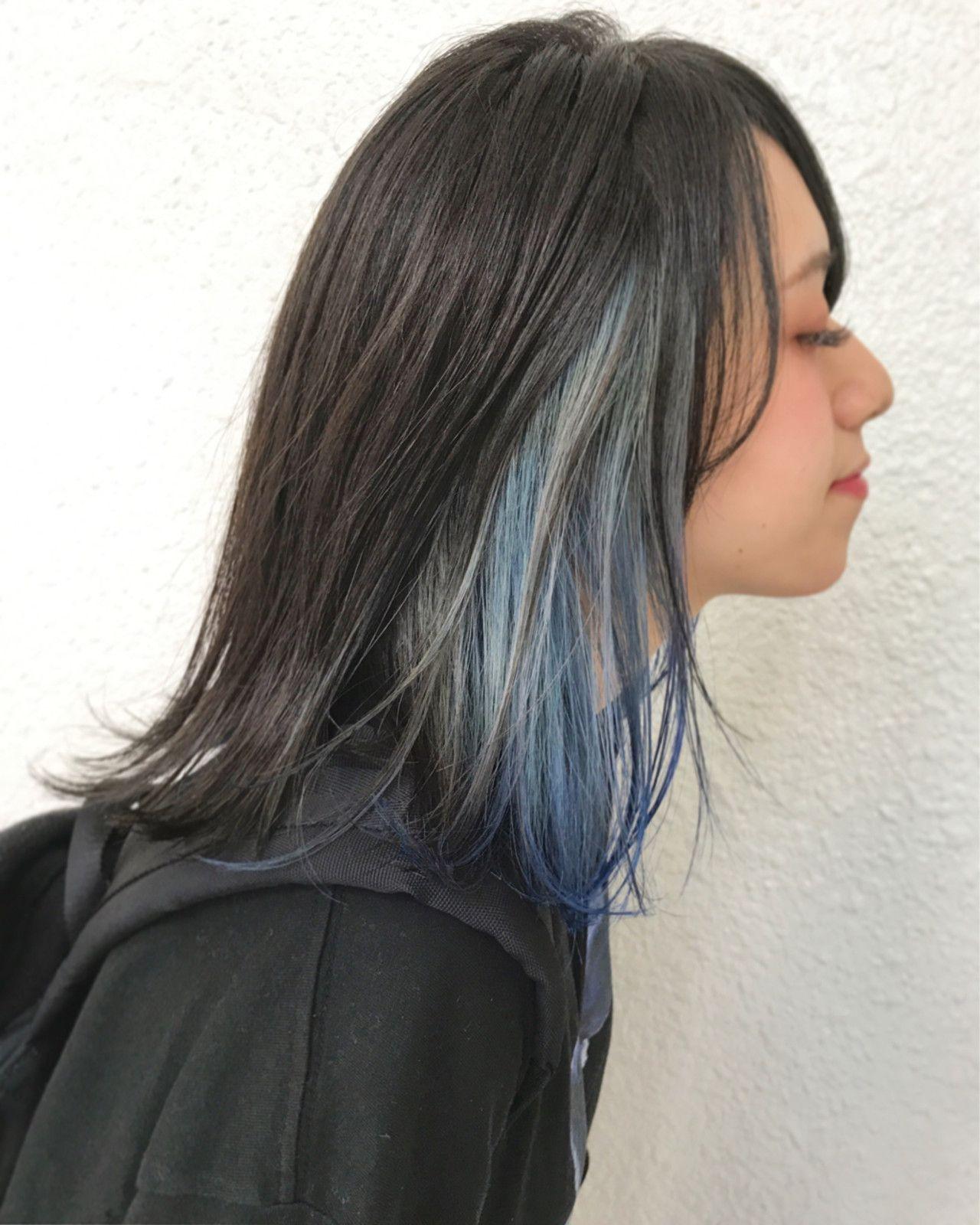 インナーカラー ヘアスタイリング 染めた髪 髪 カラー
