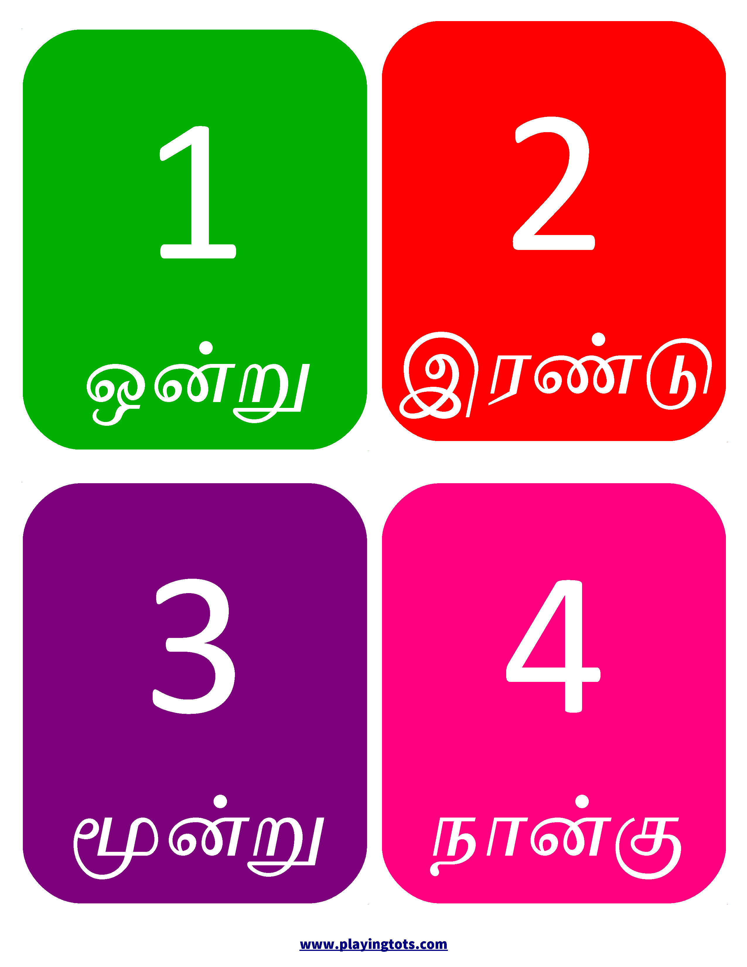 Free Printable Tamil Numbers Flashcards Educations