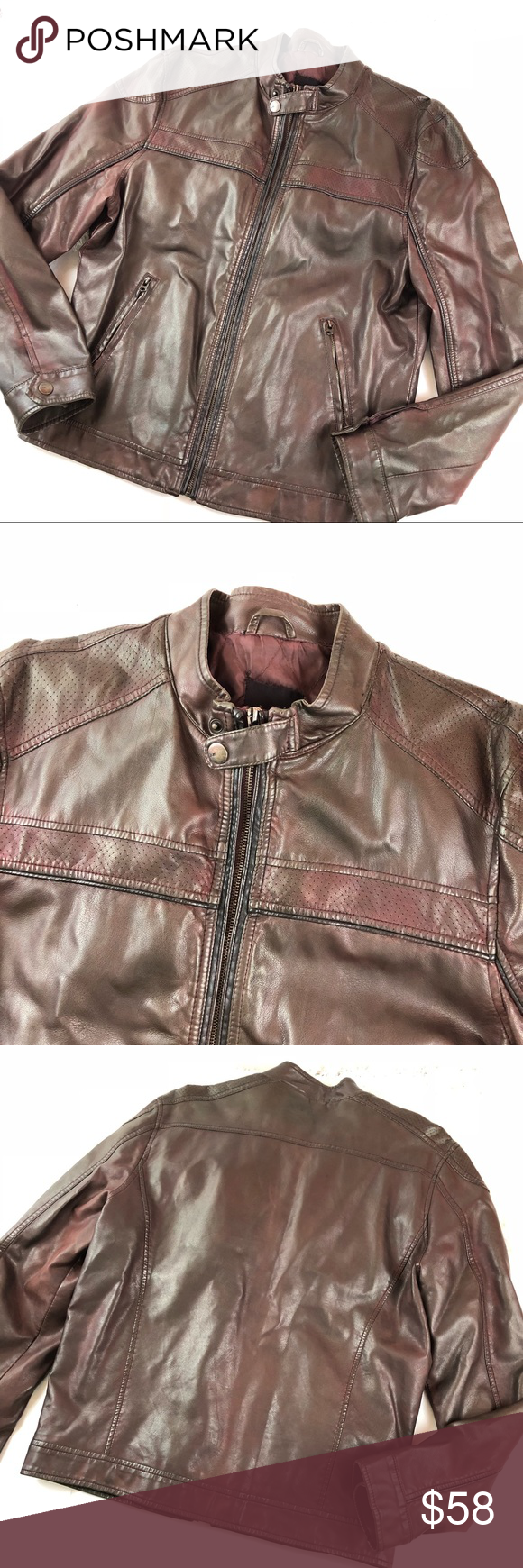 Zara Men Faux Leather Motorcycle Jacket XL Red leather