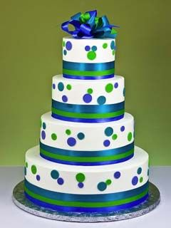 polka dot blue and green wedding cake