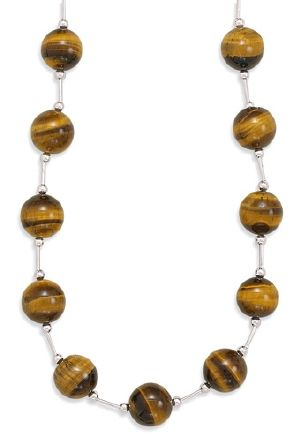 162 Extension Tigers Eye Bead Necklace Tiger Eye Jewelry