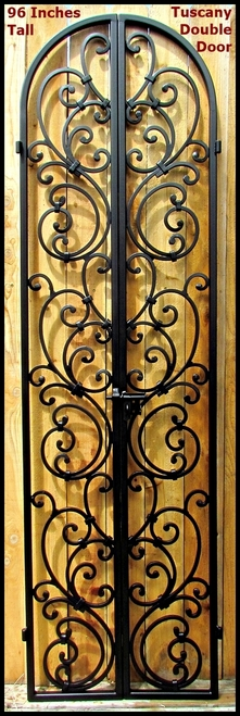 Handcrafted artistic iron wine cellar doors. Secure your wine cellar in style with one of my custom iron wine cellar doors and gates. I use grapevine designs, hand forged wrought iron scroll designs. I can custom build gates to fit in your current opening. Get it built by Leo! #cellar door Tuscany Style Wrought Iron Wine Cellar Double Door - 96 inch tall doorway    Wine cellar ideas and inspirations  Wine cellars are dreams... #Artistic #cellar #Doors #Handcrafted #Iron #Secure #style #Wine