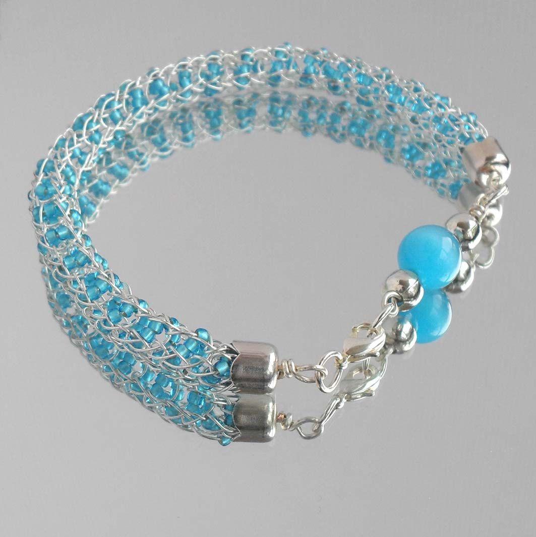 Viking Knit Seed Bead Bracelet Sky Blue Silver Plated Wire Jewelry ...