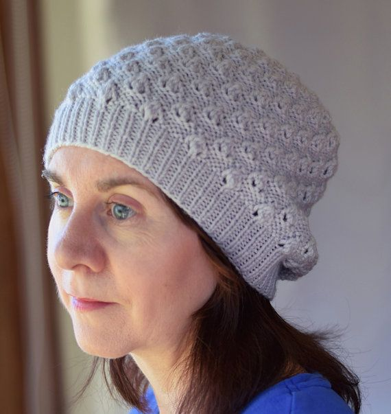 Textured Lace Knit Hat Pattern - LINDEN SLOUCHY Hat Knitting Pattern PDF -  Digital Download 771f94126e1
