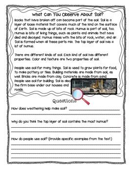 Rocks and soil science reading comprehension passages for Soil 2nd grade