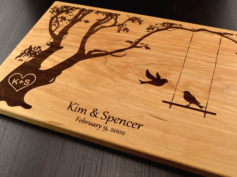 Personalized Cutting Board, Custom Wedding Gift, Housewarming Gift, Anniversary Gift, Engraved Wood Chopping Block, Hostess Gift, Tree Birds by TrueMementos on Etsy https://www.etsy.com/listing/218439685/personalized-cutting-board-custom
