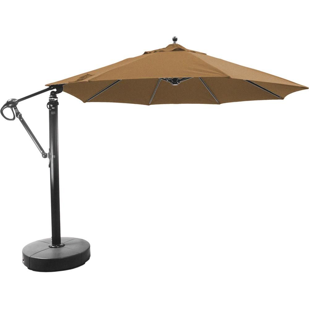 Galtech 11 Ft Octagonal Aluminum Patio Cantilever Umbrella W Easy Lift And Easy Tilt Wheel Black Frame W Sunbrella Canvas Teak Canopy With Images Cantilever Umbrella Aluminum Patio Umbrella
