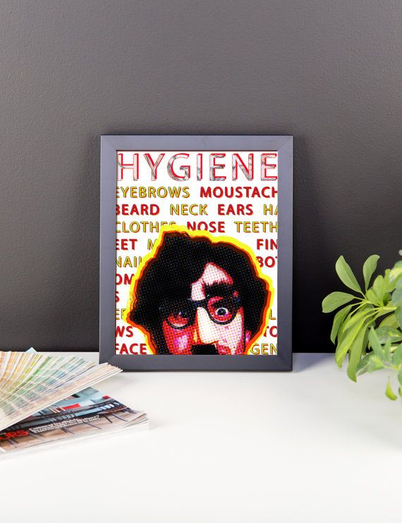 Bathroom Poster, Framed Pop Art Decor, Funny Decor, Water Closet Art, Bathroom Art, Hygiene Poster, Daily Reminder, Cleanliness, Manscaping