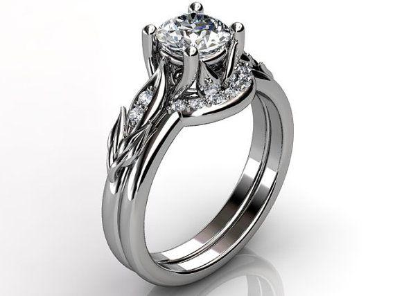 Platinum diamond unusual unique floral engagement ring by Jewelice, $2050.00