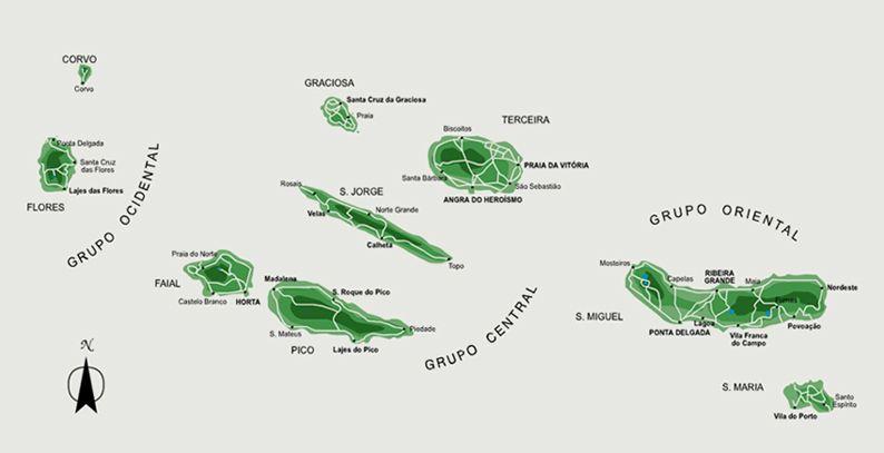 mapa açores mapa das 9 ilhas | Açores | Pinterest mapa açores