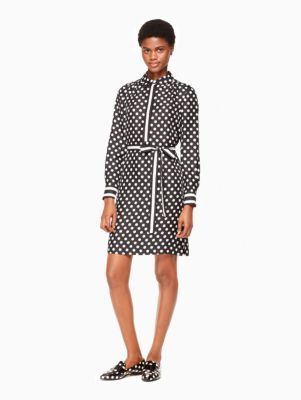 dot stripe silk shirtdress | Kate Spade New York