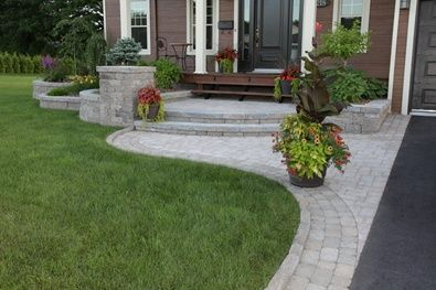 Am Nagement Paysager Devant Maison Front Yard Walkway Yard Remodel Porch Steps