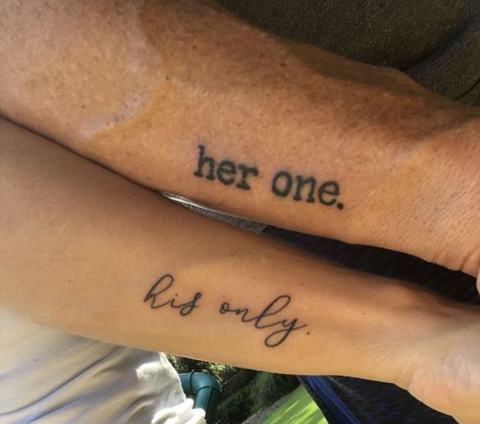 her one, his only, side arm tattoos, matching tattoos for couples in love, white top